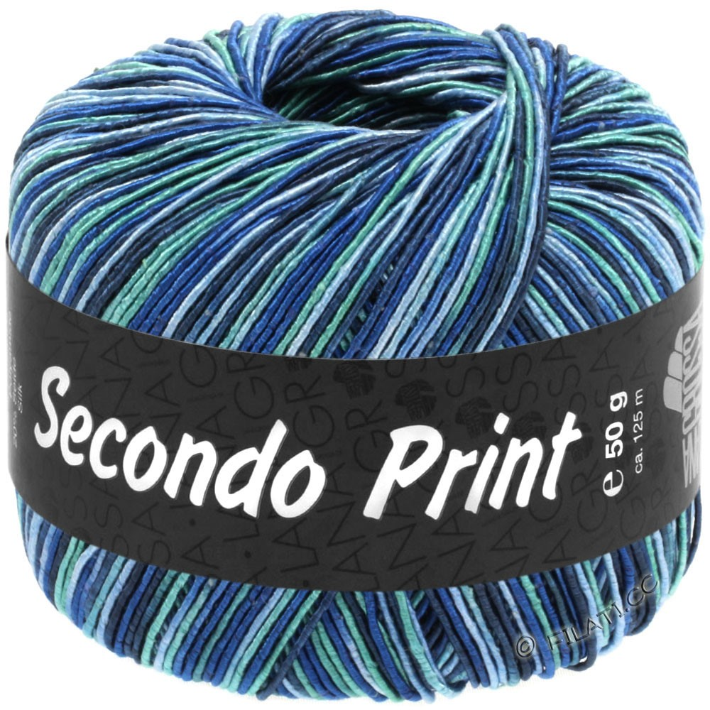 Lana Grossa SECONDO Print II | 517-light blue/royal/night blue/turquoise blue
