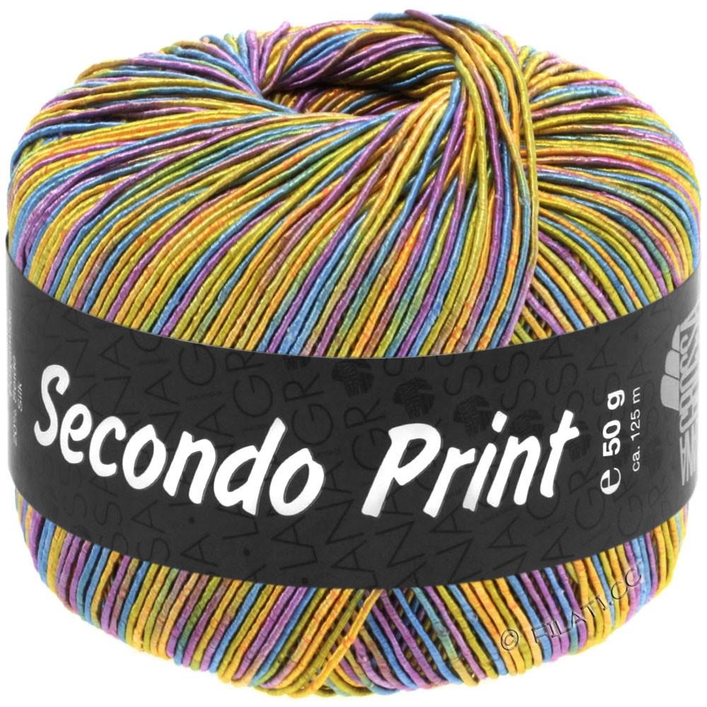 Lana Grossa SECONDO Print II | 518-apricot/golden yellow/turquoise blue/violet
