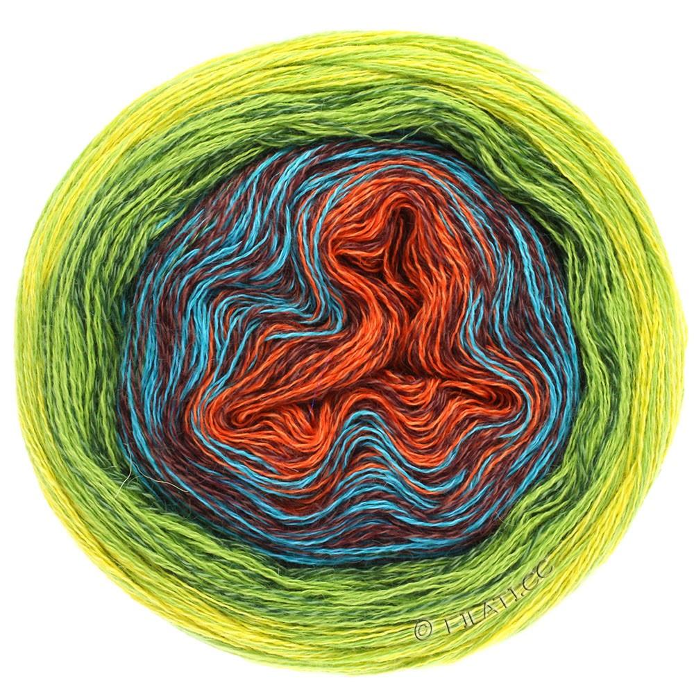 Lana Grossa SHADES OF MERINO COTTON | 602-rust/red brown/turquoise/dark green/light green/yellow