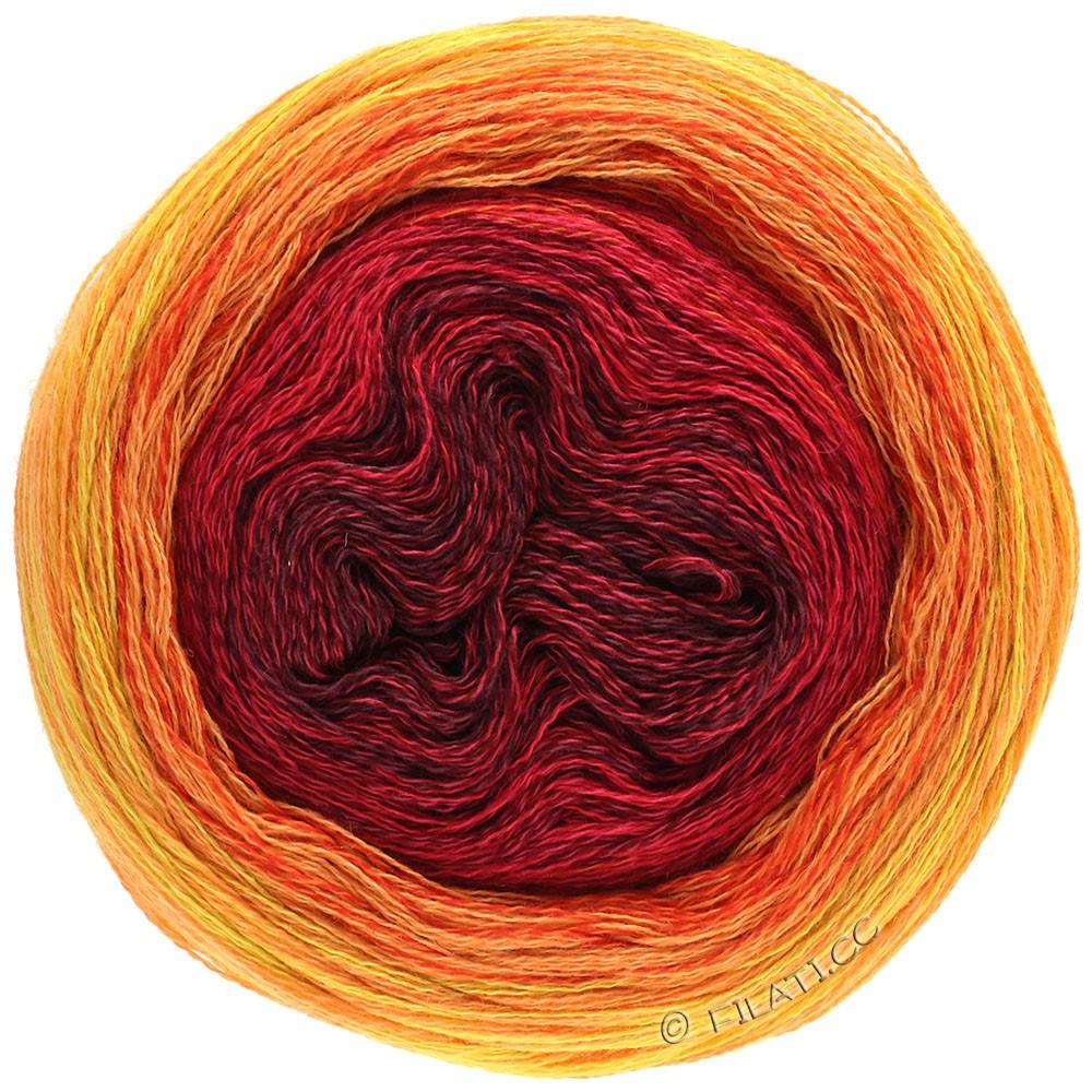 Lana Grossa SHADES OF MERINO COTTON | 603-bordeaux/cherry red/red/red orange/light orange/yellow