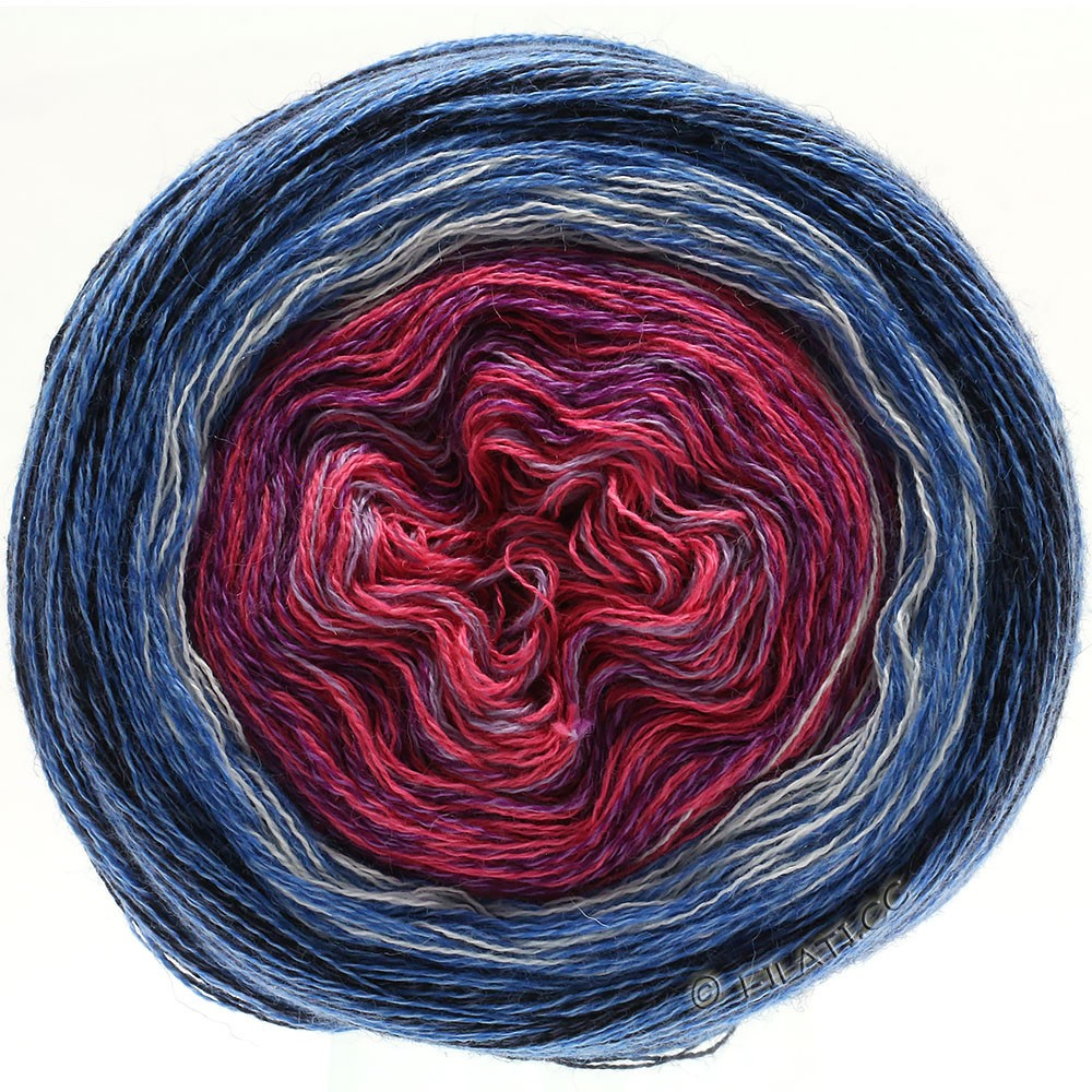 Lana Grossa SHADES OF MERINO COTTON | 604-lilac pink/purple/white/medium blue/blue/black