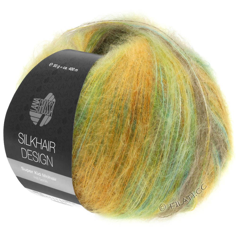 Lana Grossa SILKHAIR Design | 1002-turquoise/beige/gold/olive/yellow green