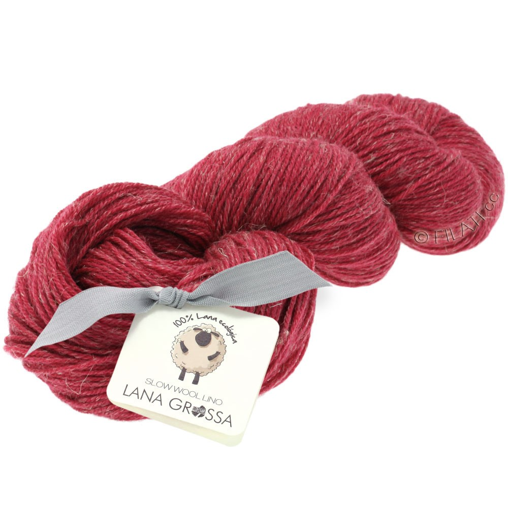 Lana Grossa SLOW WOOL LINO   14-raspberry red