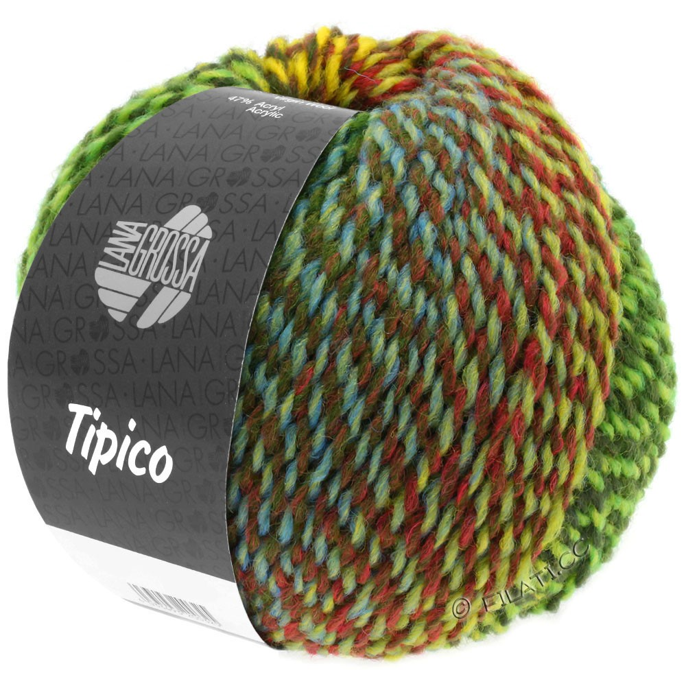 Lana Grossa TIPICO | 01-light green/dark green/brown/yellow