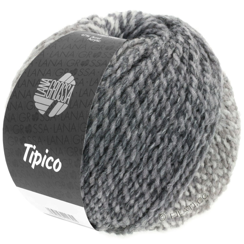 Lana Grossa TIPICO | 05-white/light gray/dark gray