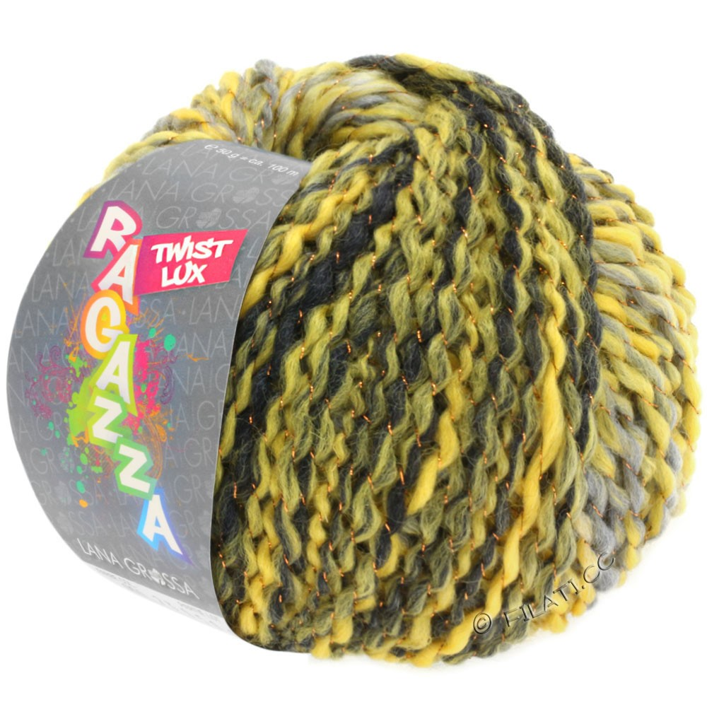 Lana Grossa TWIST Lux (Ragazza) | 105-yellow/light gray/dark gray/copper