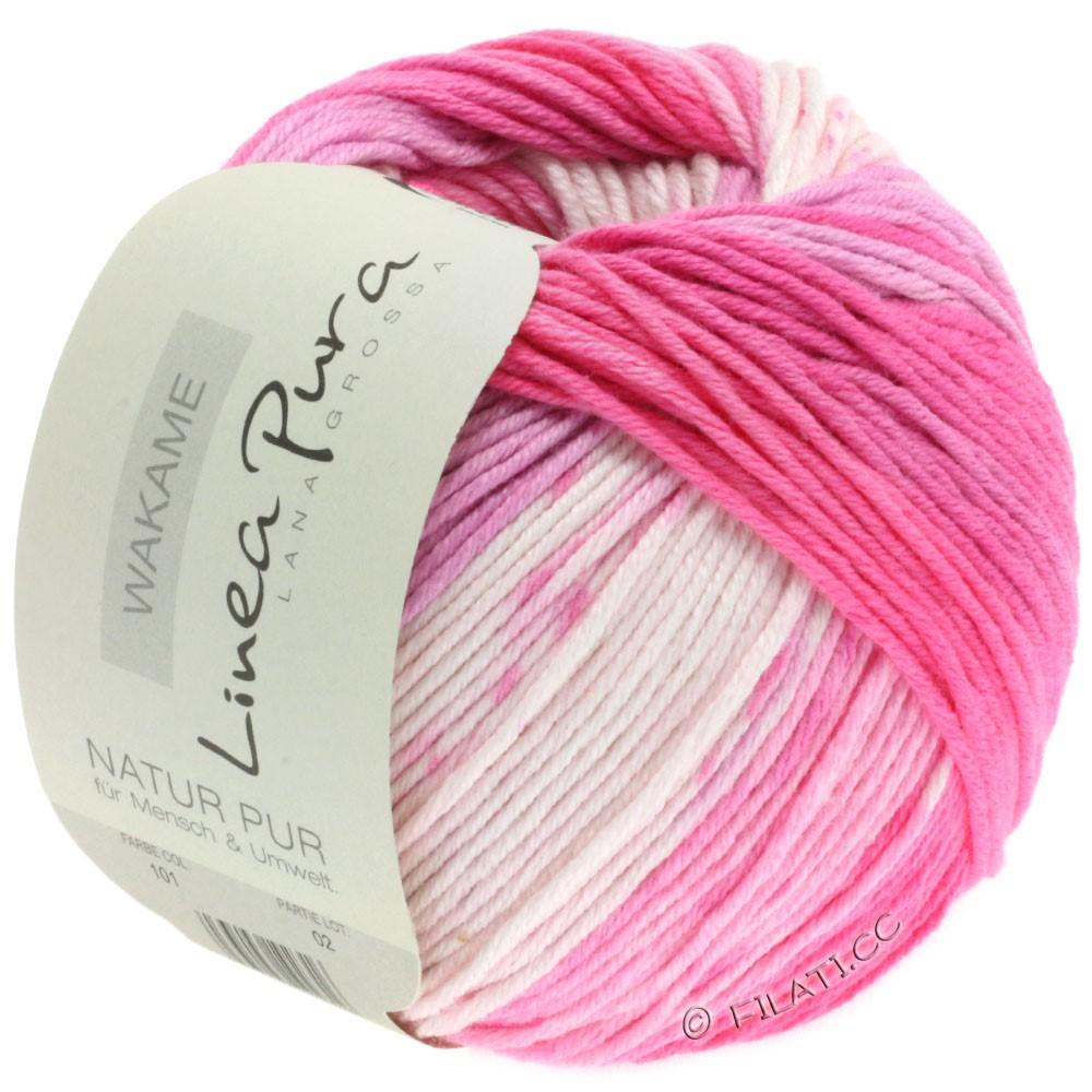 Lana Grossa WAKAME Uni/Print (Linea Pura) | 101-white/rose/pink