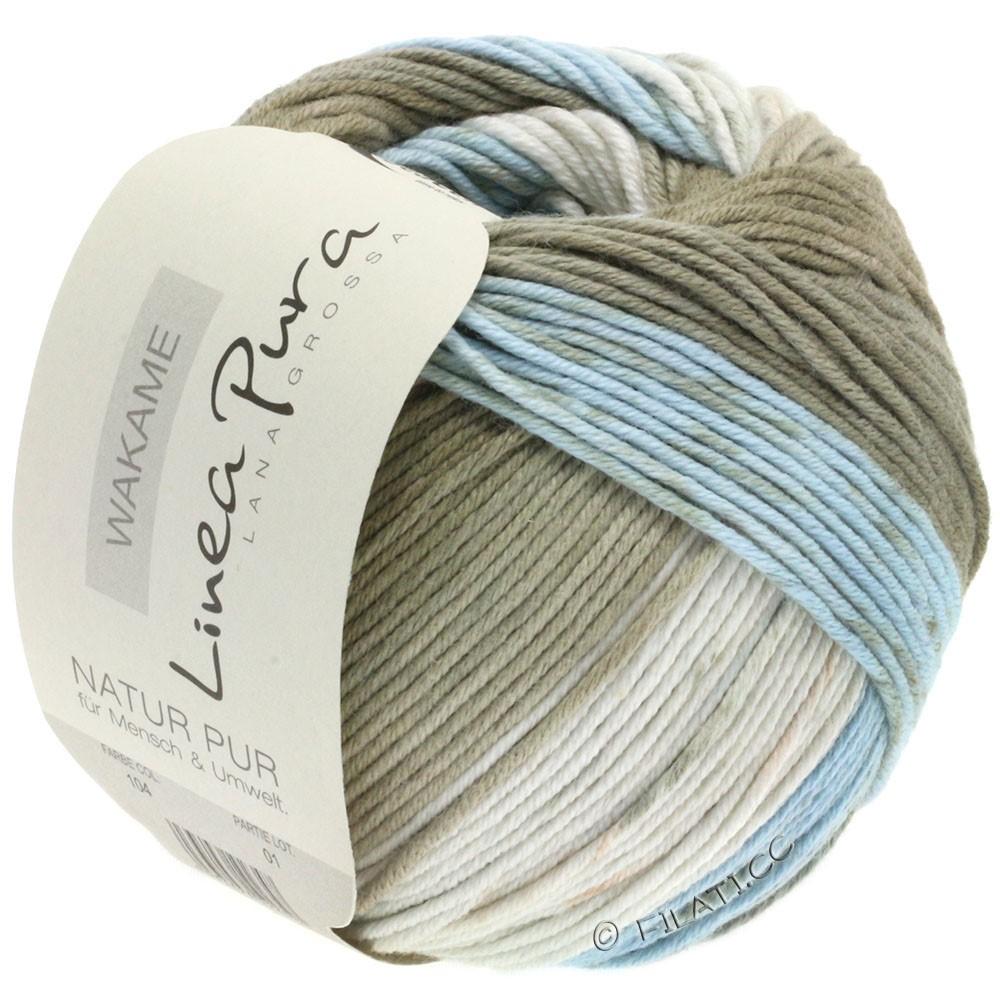 Lana Grossa WAKAME Uni/Print (Linea Pura) | 104-natural/gray blue/grège/reed