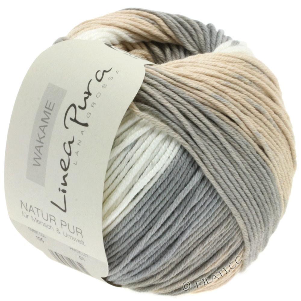 Lana Grossa WAKAME Uni/Print (Linea Pura) | 105-natural/beige/grège/sand/gray