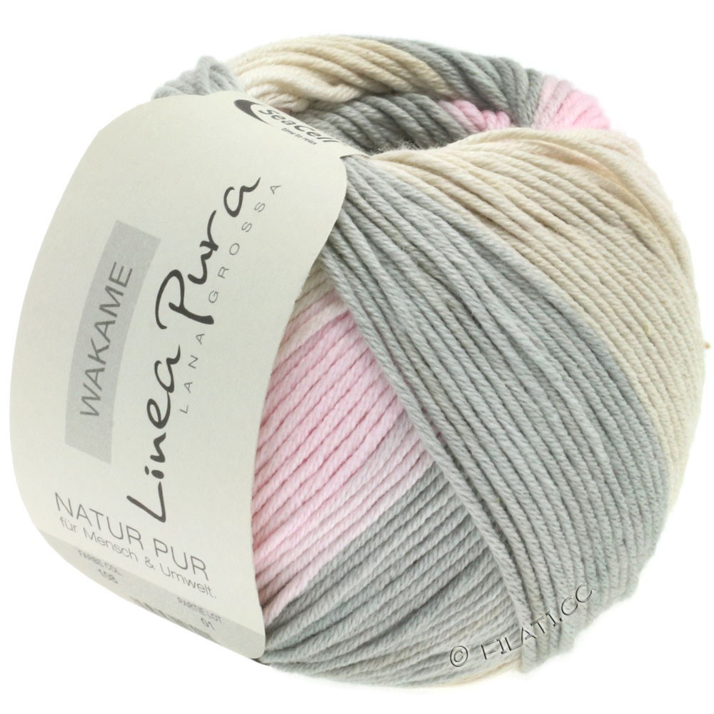 Lana Grossa WAKAME Uni/Print (Linea Pura) | 108-dark gray/rose/beige/sand