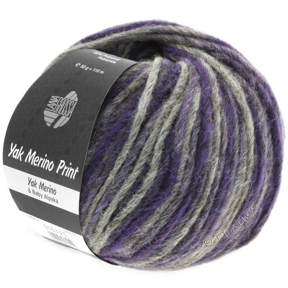 Lana Grossa YAK MERINO Print | 102-blue violet/dark gray mottled