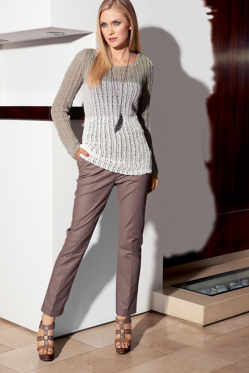 Lana Grossa COLORBLOCK PULLOVER IN EYELET PATTERN Puntino