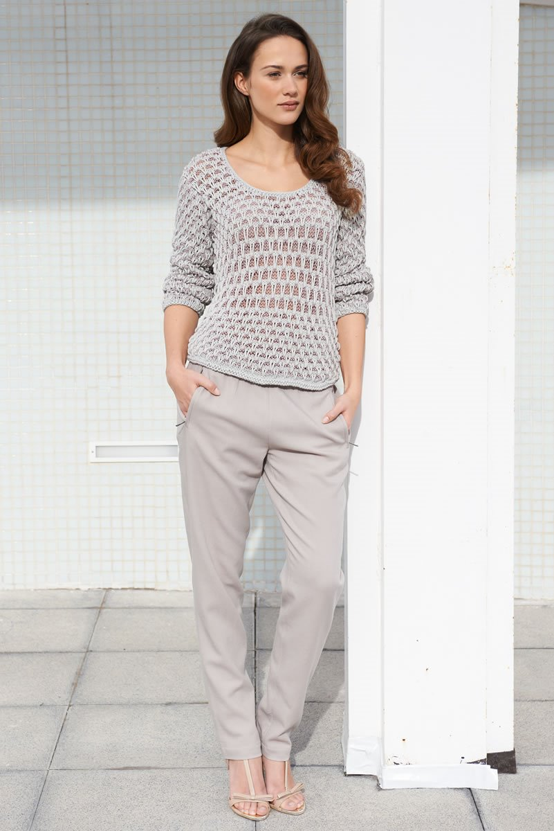Lana Grossa PULLOVER WITH SHEER PATTERN INSET Cotofine/Secondo