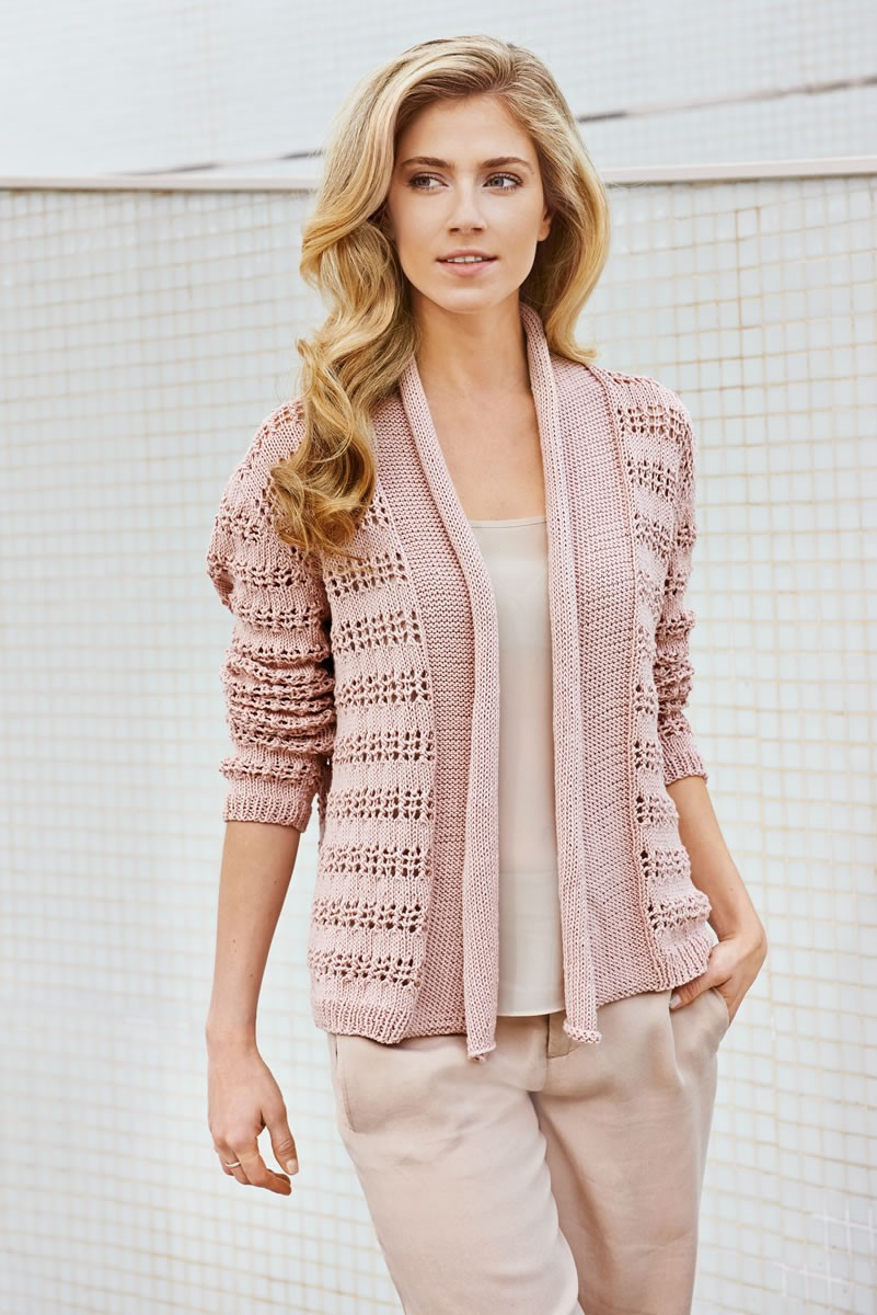 Lana Grossa JACKET WITH LACE STRIPES Wakame