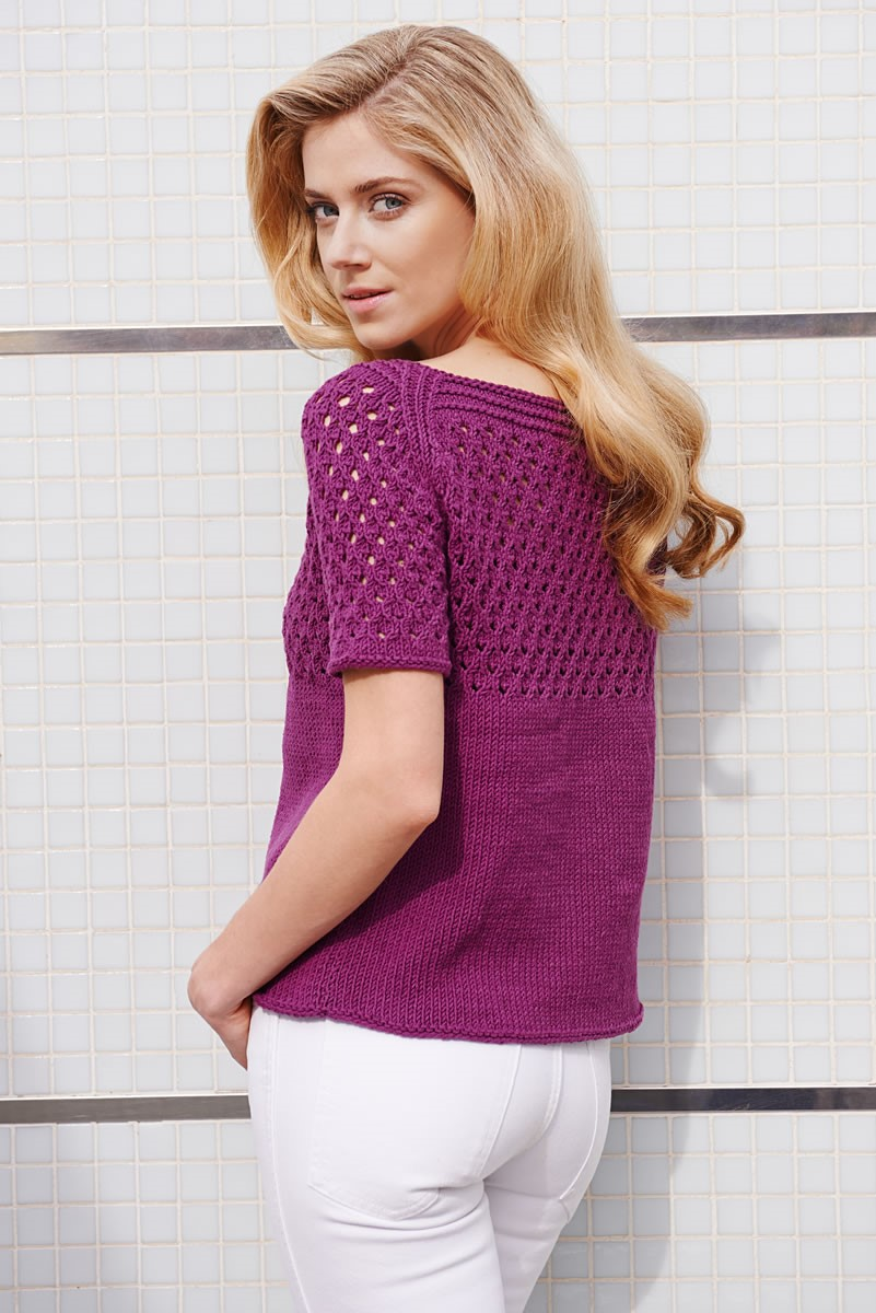 Lana Grossa PULLOVER WITH LACE PATTERN YOKE Elastico Big