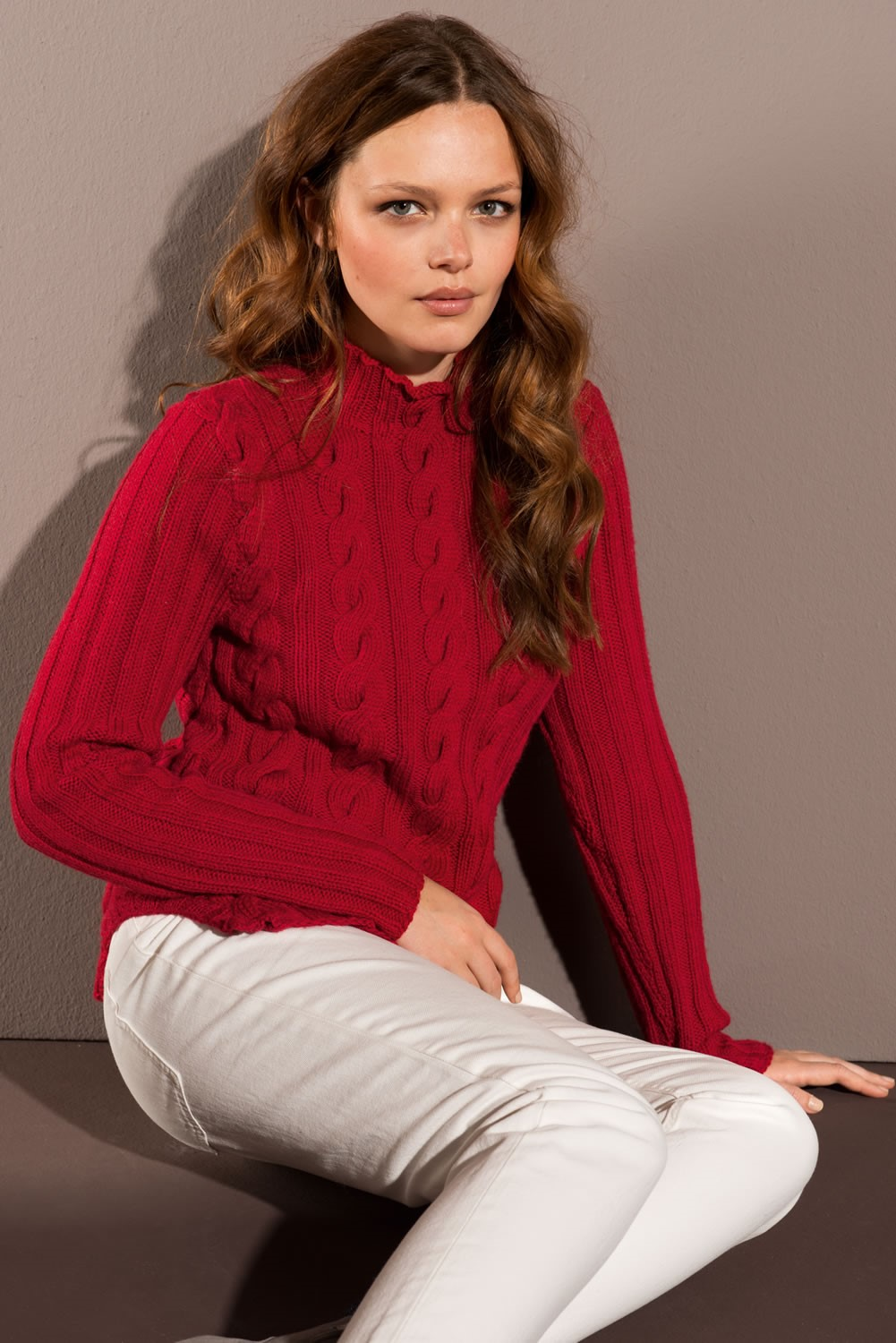 Lana Grossa PULLOVER IN RIB AND CABLE PATTERN in Cool Wool Alpaca