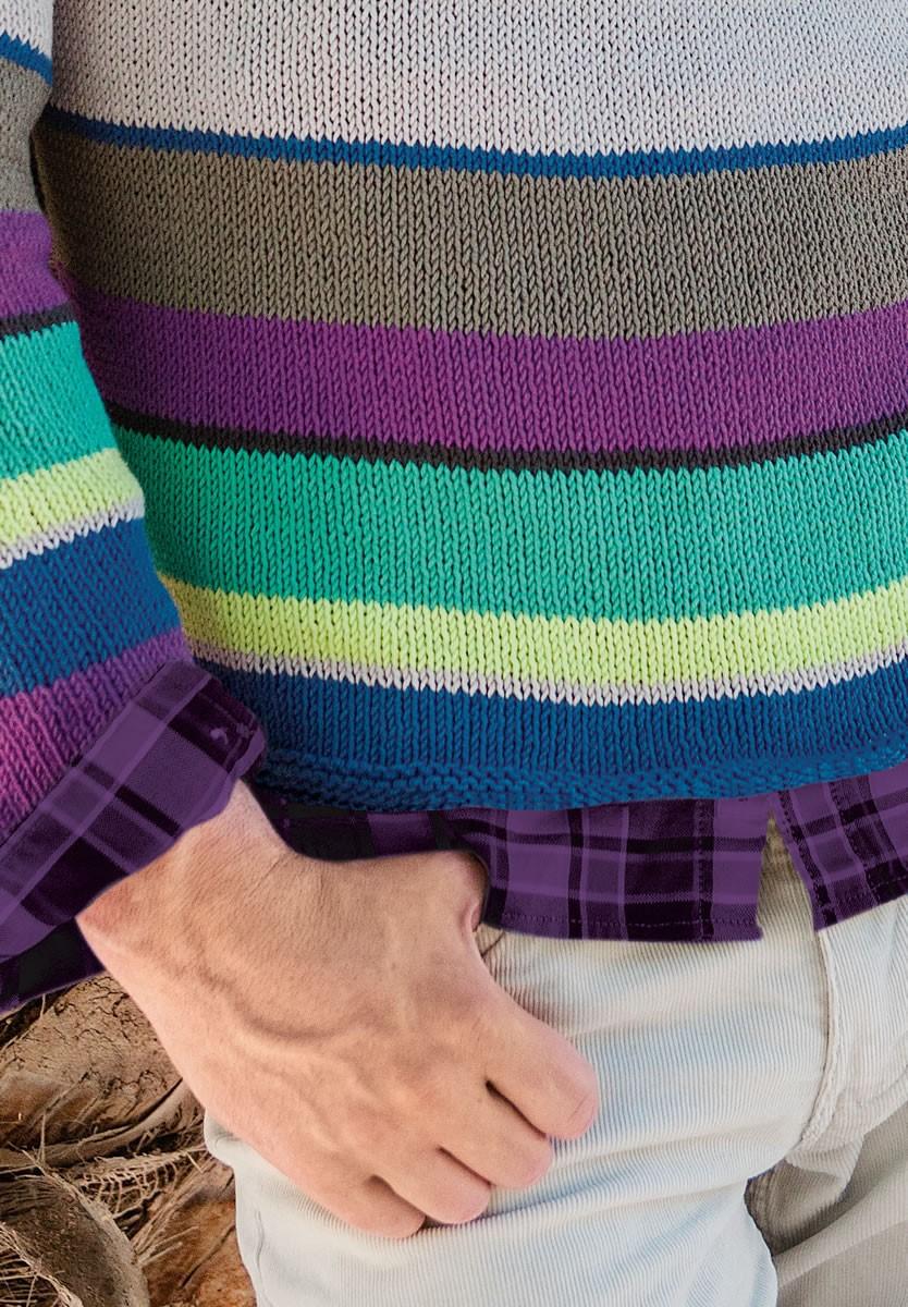 Lana Grossa MEN'S STRIPED V-NECK SWEATER Elastico