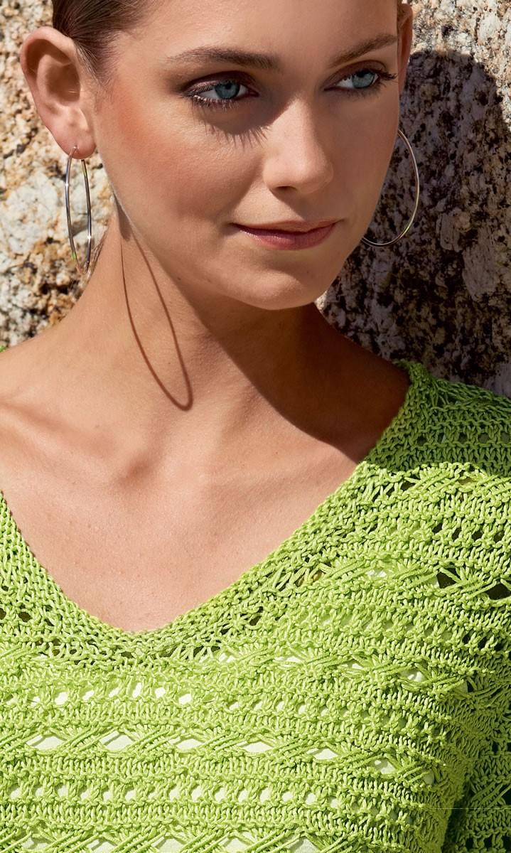 Lana Grossa V-NECK LACE SWEATER Classico