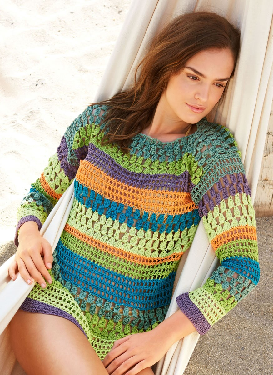 Lana Grossa CROCHETED PATTERNMIX PULLOVER Aria