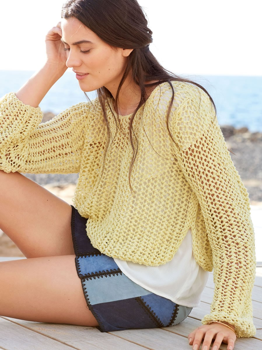 Lana Grossa CROPPED PULLOVER IN MESH PATTERN Il Puro
