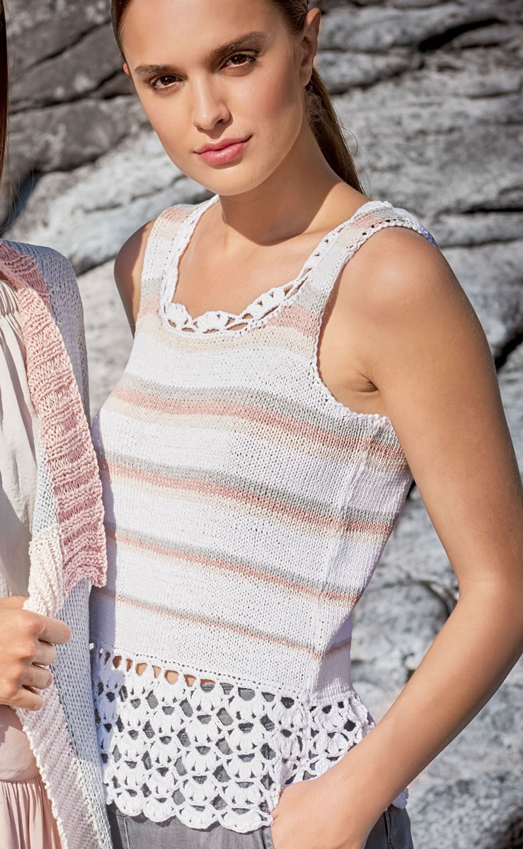 Lana Grossa STRIPED TOP WITH CROCHETED DETAIL Lavato