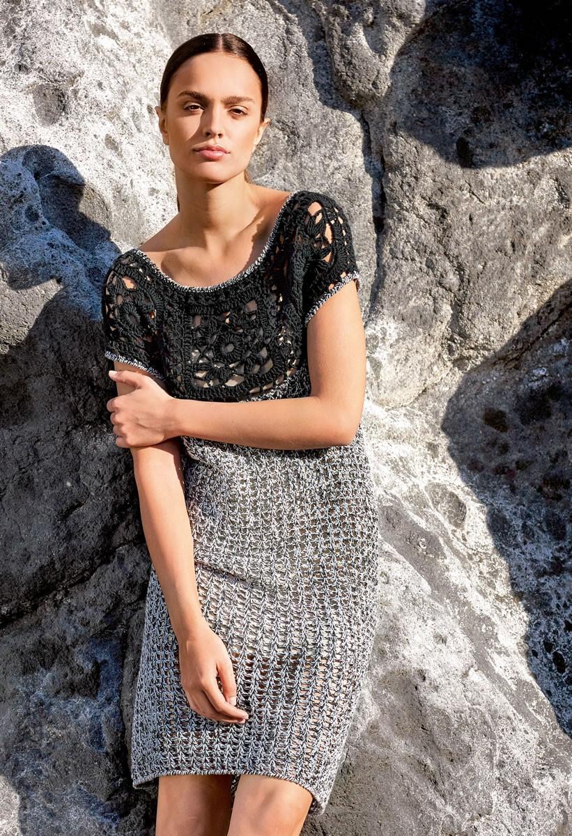 Lana Grossa CROCHETED DRESS WITH FLOWER MOTIF YOKE Wakame/Doppio