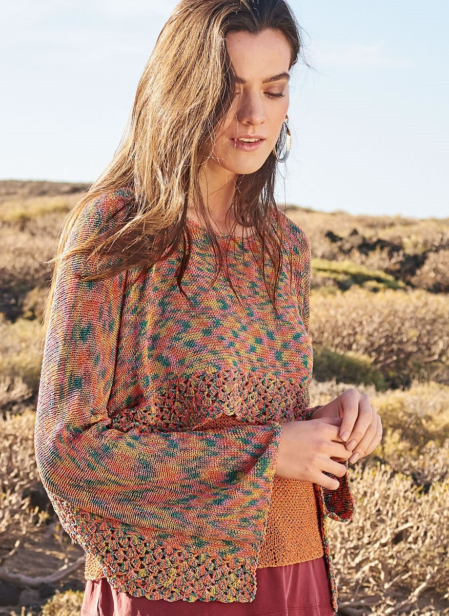 Lana Grossa CROPPED PULLOVER WITH CROCHETED EDGINGS Secondo Print