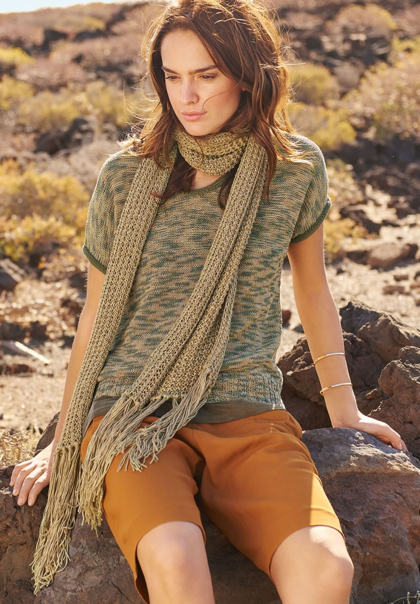 Lana Grossa SCARF IN SEEDED RIB PATTERN Linarte