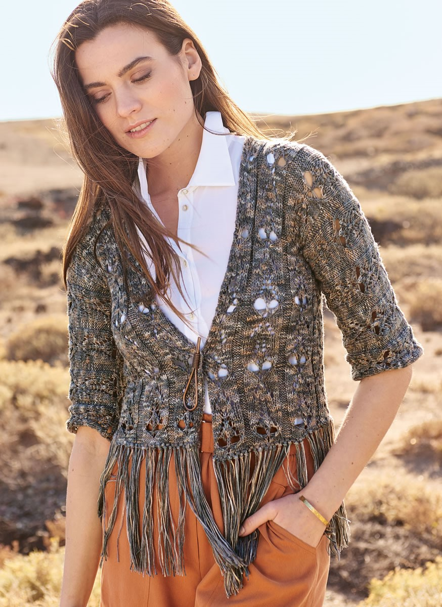 Lana Grossa JACKET IN OVERALL LACE PATTERN Linarte Color