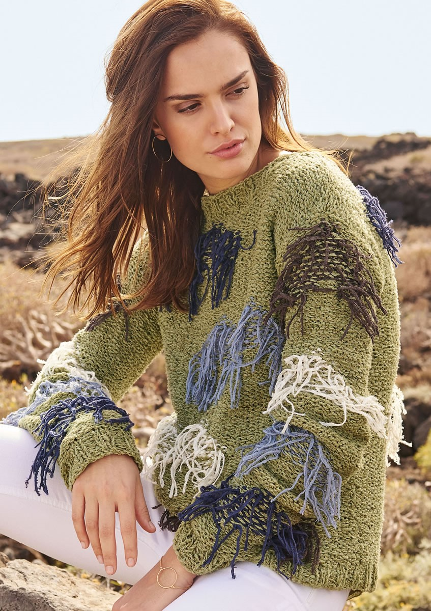 Lana Grossa PULLOVER WITH STRANDED COLORWORK AND FRINGE Fiore