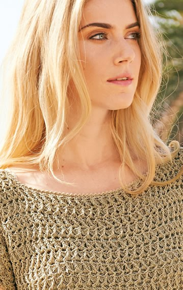 Lana Grossa SHORT-SLEEVE CROCHET PULLOVER Secondo