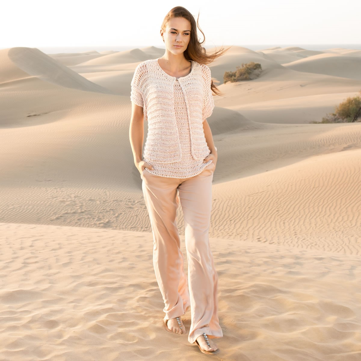 Lana Grossa STRIPED TOP IN OPENWORK PATTERN Opera
