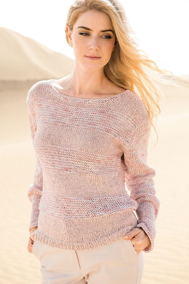 Lana Grossa PULLOVER WITH TEXTURED STRIPES 365 Cotone/Dacapo Multi