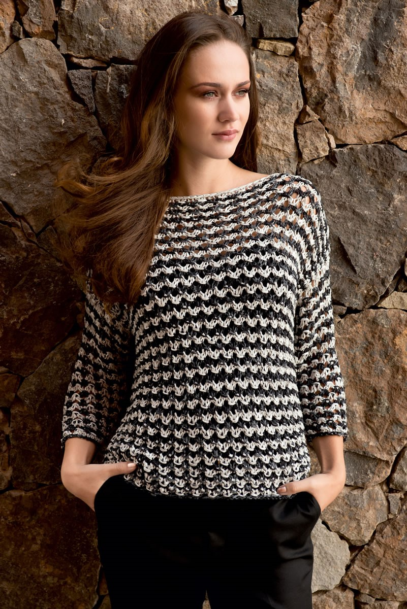 Lana Grossa BLACK AND WHITE PULLOVER IN TEXTURED OPENWORK PATTERN Roma