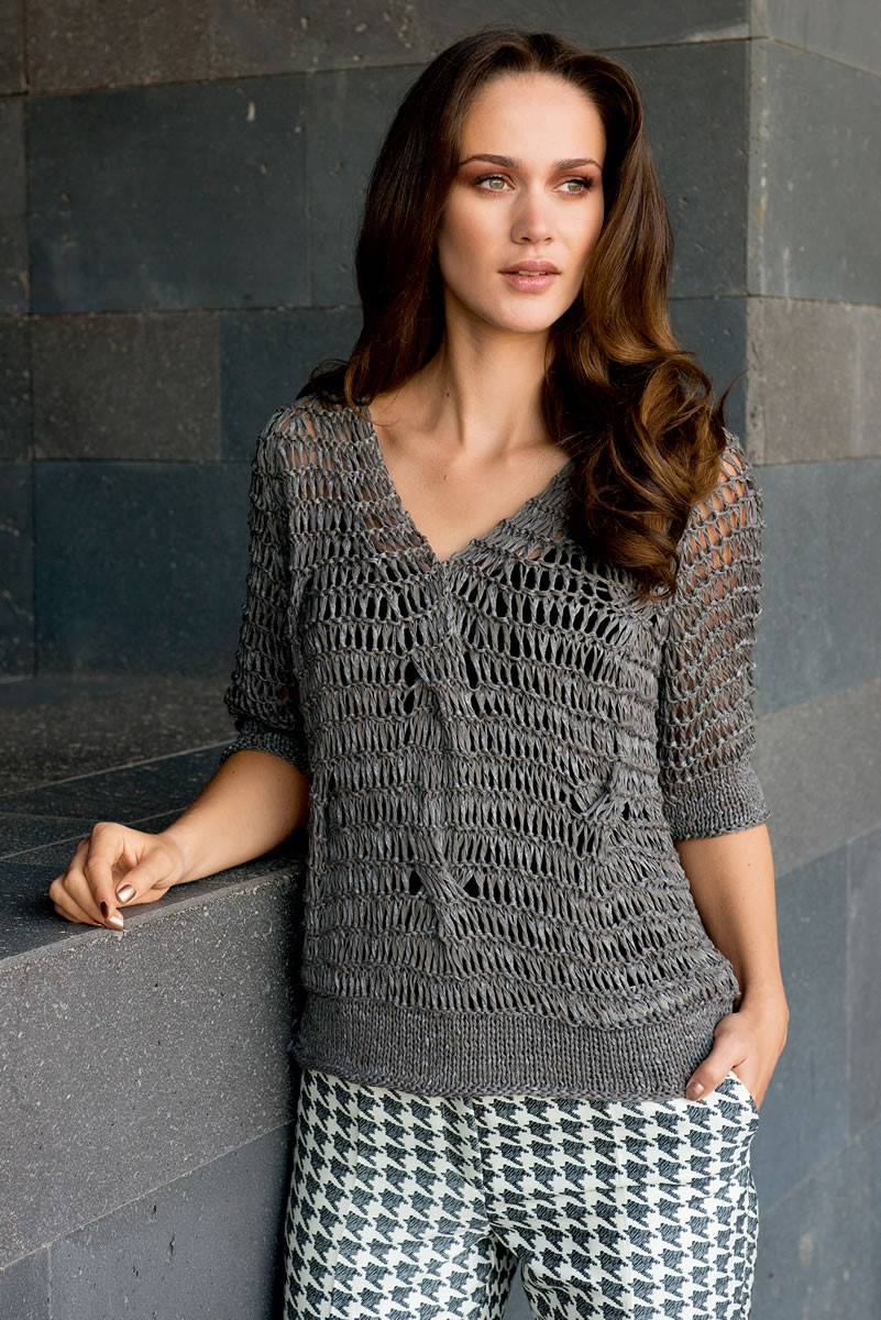 Lana Grossa RAGLAN PULLOVER IN DROP STITCH AND CABLE PATTERN Roma