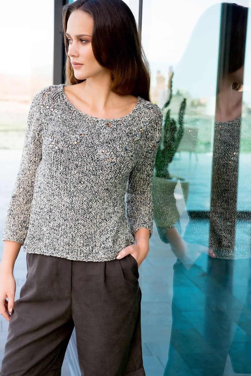 Lana Grossa RAGLAN PULLOVER WITH EMBROIDERY Musica