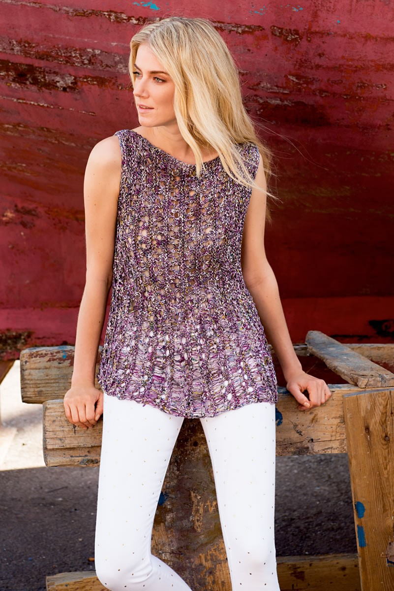 Lana Grossa TOP IN DROP STITCH PATTERN Dacapo multi