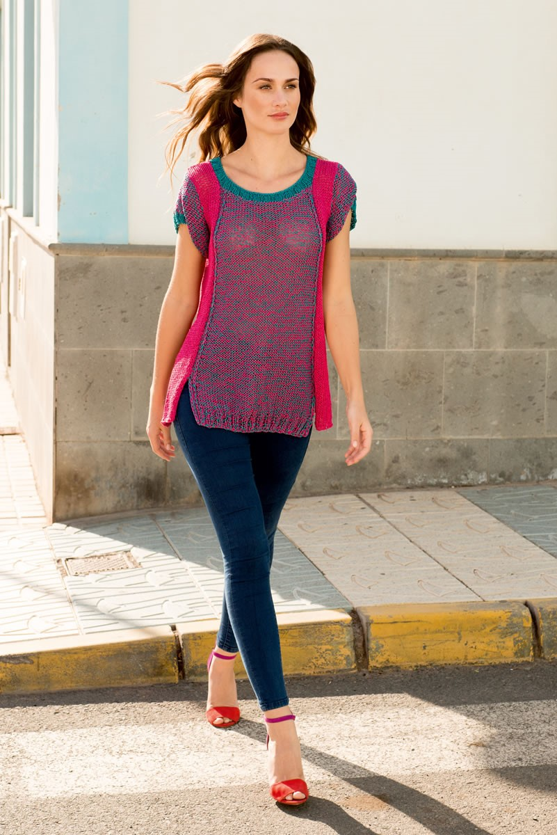 Lana Grossa SHORT-SLEEVE PULLOVER WITH SIDE GUSSETS Aria