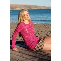 Lana Grossa PULLOVER IN TWISTED RIB AND DROP STITCH PATTERN Allegro