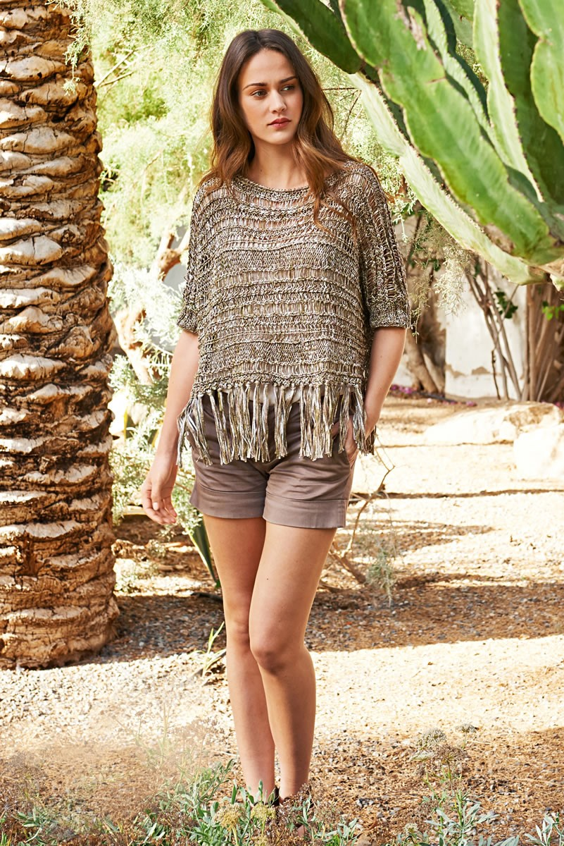 Lana Grossa CROPPED TOP IN CABLE AND DROP STITCH PATTERN Dacapo Multi