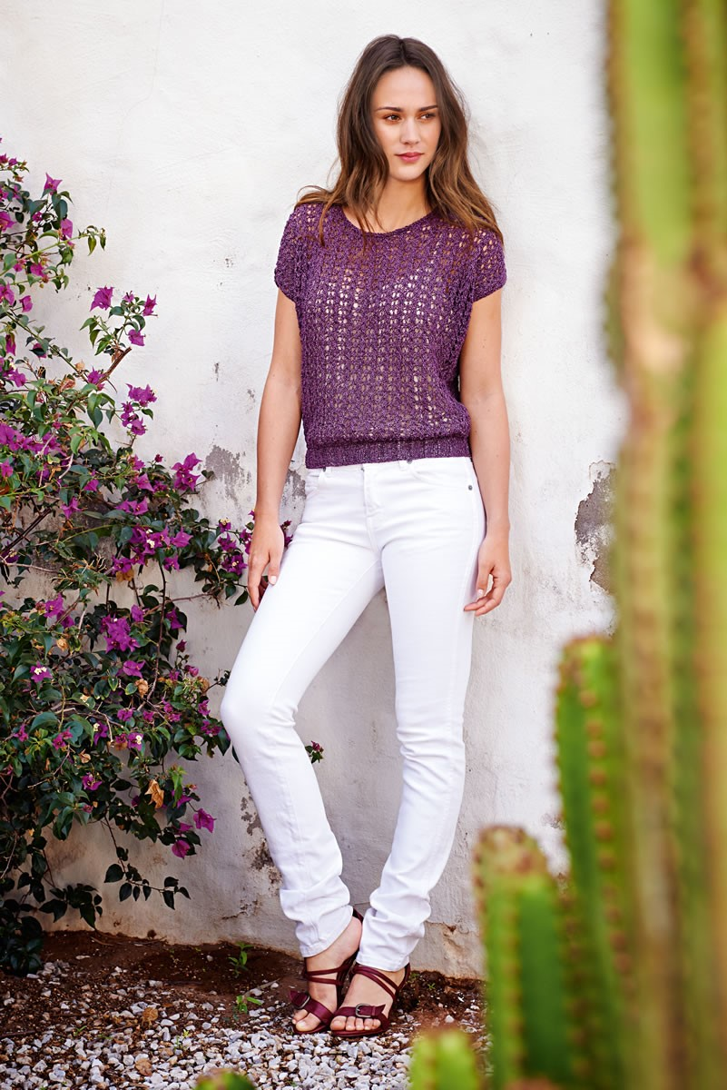 Lana Grossa SHORT-SLEEVE PULLOVER IN EYELET PATTERN Divino