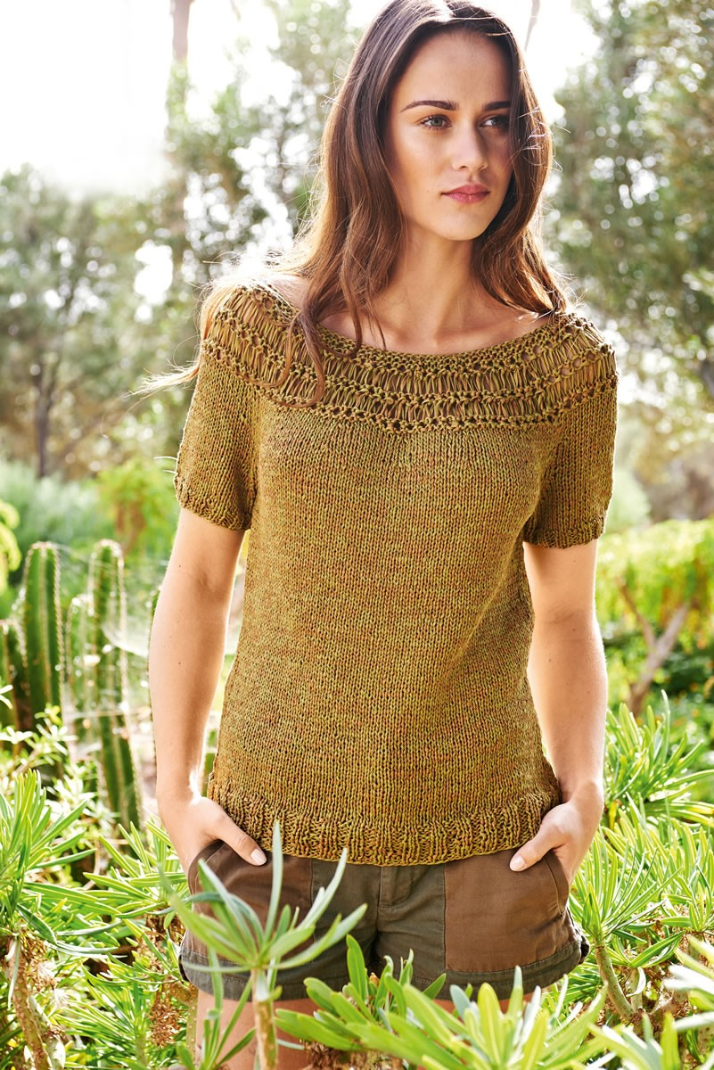 Lana Grossa PULLOVER WITH DROP STITCH PATTERN YOKE Roma