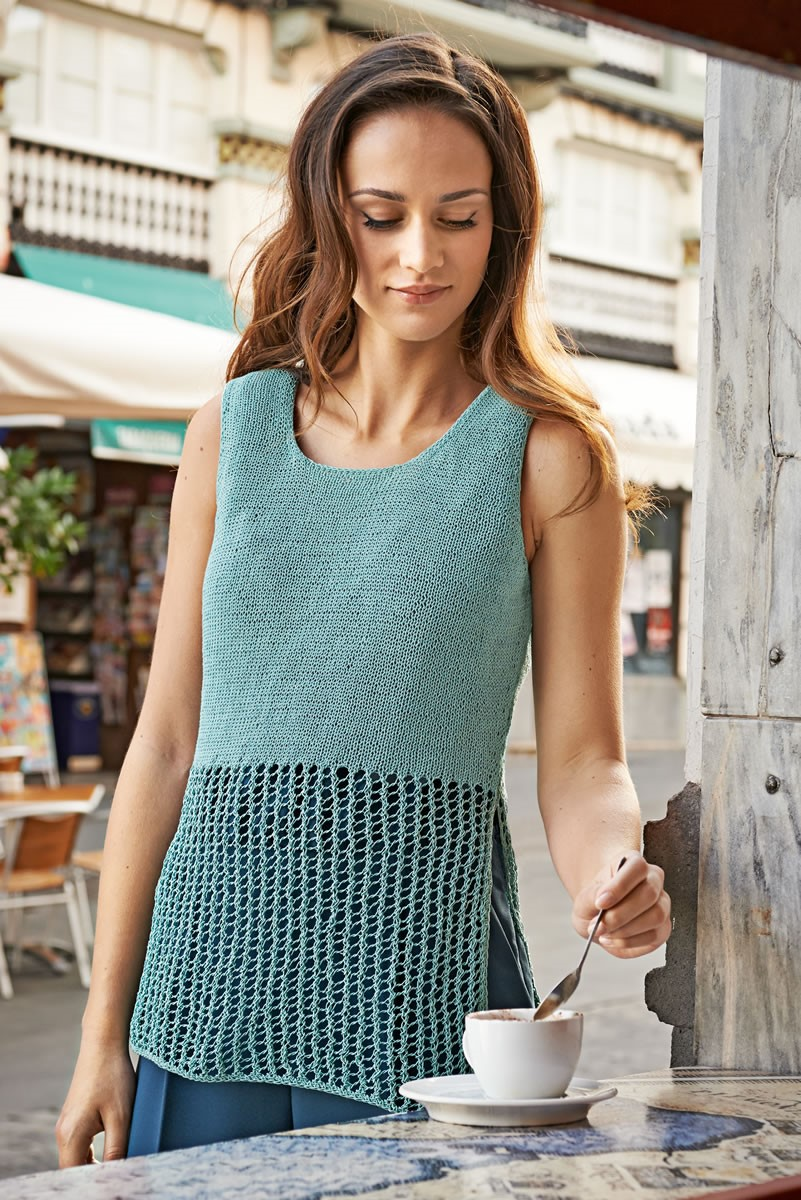 Lana Grossa TOP IN MESH PATTERN AND STOCKINETTE Secondo