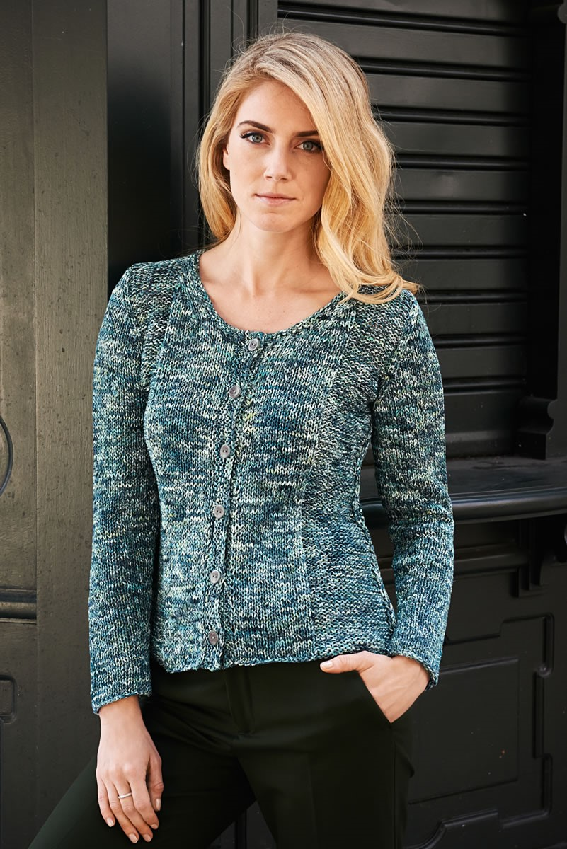 Lana Grossa JACKET IN STOCKINETTE AND REVERSE STOCKINETTE Dacapo Multi