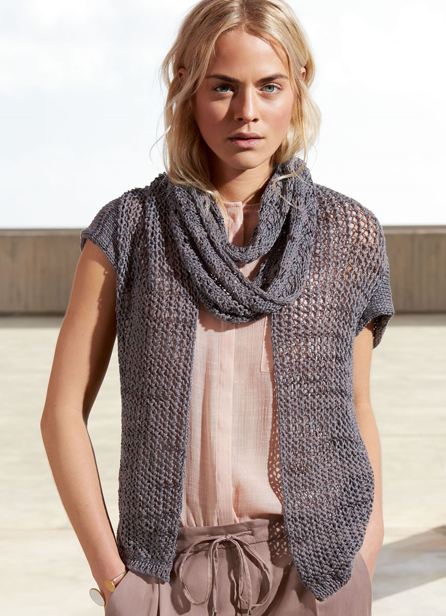Lana Grossa VEST WITH MESH PATTERN FRONTS Allegro Unito