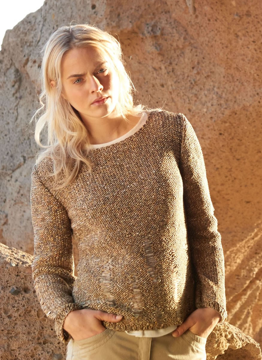 Lana Grossa PULLOVER WITH DROP STITCH DETAIL Dacapo Multi