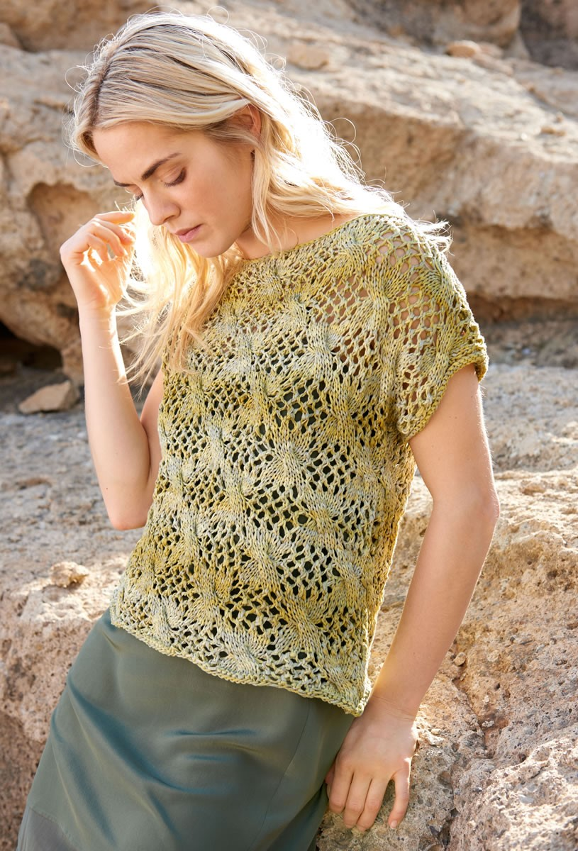 Lana Grossa PULLOVER IN LACE AND CABLE PATTERN Roma Degradè