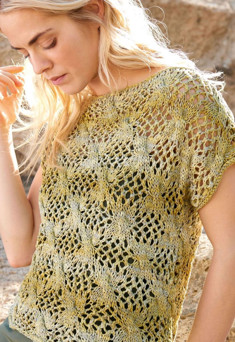 Lana Grossa PULLOVER IN LACE AND CABLE PATTERN Roma Degradé