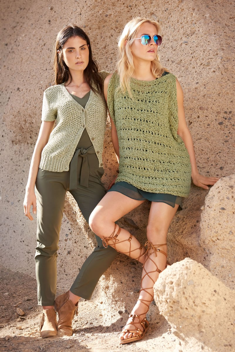 Lana Grossa TOP IN REVERSE STOCKINETTE AND DROP STITCH PATTERN Fiore