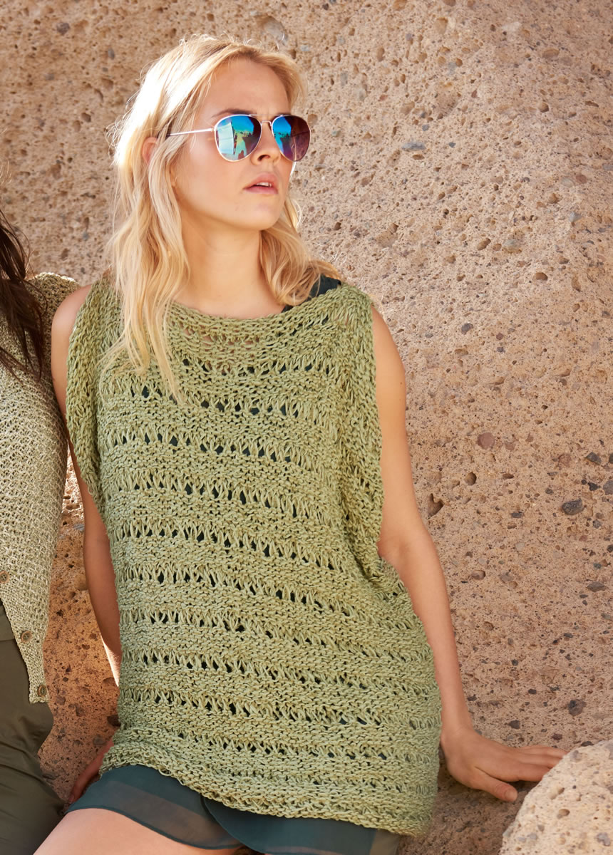 Lana Grossa TOP IN REVERSE STOCKINETTE AND DROP STITCH PATTERN Fiore ...